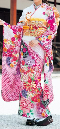 A gorgeous Furisode Japanese Outfits, Japanese Fashion, Japanese Clothing, Japanese Style, Japanese Geisha, Japanese Kimono, Traditional Fashion, Traditional Dresses, Kimono Fashion