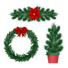 Illustration about Elements for New Year, festive design. Wreath, garland and tree in a pot. Isolated on a white background. Illustration of elements, background, white - 164932532 Winter Collection, Garland, Pine, Festive, Christmas Wreaths, Holiday Decor, Illustration, Design, Pine Tree