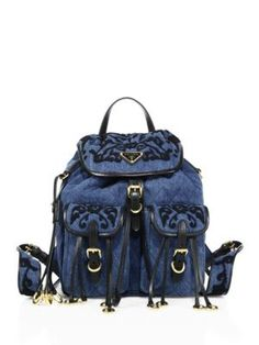 9e6a9d50fe Prada - Embroidered Denim Mini Backpack Denim Backpack