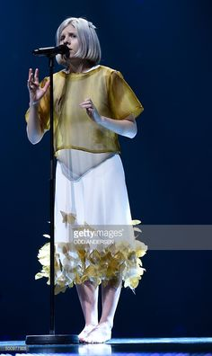 Norwegian singer-songwriter Aurora Aksnes performs on stage during the 2015 Nobel Peace Prize Concert at the Telenor Arena in Oslo, Norway, on December 11, 2015.