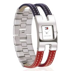 Tommy Hilfiger Women's Stainless Steel Red/ Blue Leather Watch by Tommy Hilfiger
