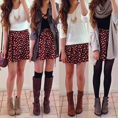 .@rinasenorita | Same skirt, four different casual/school outfit ideas for Valentine's Day fea... | Webstagram
