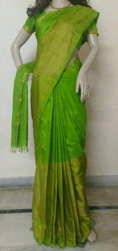 Uppada Parrot Green Color Half Tissue Silk Saree by UppadaPattu