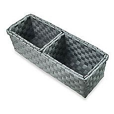 image of Woven Nylon 3-Piece Narrow Drawer Organizers in Grey