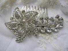 Free shipping BRIDAL hair comb vintage style wedding by Hinuma, $53.00