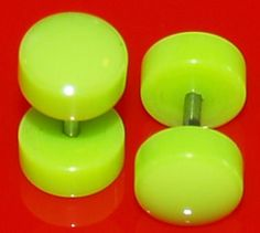 Pair of Acrylic Green Fake Cheater Plugs 7mm