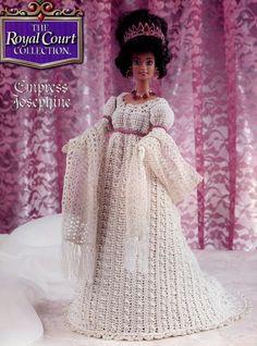 Empress Josefina traje para corte real Annie's de boneca Barbie crochê padrão de novo