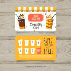 More than 3 millions free vectors, PSD, photos and free icons. Exclusive freebies and all graphic resources that you need for your projects Loyalty Card Design, Loyalty Card Template, Loyalty Cards, Card Templates, Menue Design, Food Menu Design, Bistro Design, Happy Tea, Member Card