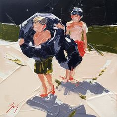 Tubing Duo, palette knife painting of boys at springs in summertime by Sally Shislerr, painting by artist Sally Cummings Shisler