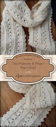 The Primrose and Proper Super Scarf is free crochet pattern that is lacy and easy to make! Women and teens of all ages are sure to love this pretty accessory with a Victorian or Shabby Chic feel. Sie Poncho Winter Super Scarf Pattern: Primrose and Proper Crochet Scarves, Crochet Shawl, Crochet Clothes, Knit Crochet, Crochet Patterns For Scarves, Crocheted Scarf, Crochet Stitches, Knit Cowl, Hand Crochet