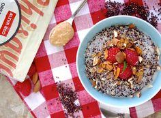 Nutty Quinoa Porridge Recipe Desserts, Breakfast and Brunch with black quinoa, unsweetened almond milk, almond butter, pure maple syrup, fresh raspberries, slivered almonds, coconut flakes
