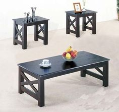 "3 Pc. Wood x Style Casual Coffee Table and 2 End Table by Acme Furniture. $298.00. Wood X Style Casual Coffee Table Set. Finish: Black. Assembly required.. # Coffee table: 48"" x 24"" x 16""H,  End table: 22"" x 18"" x 19""H. Material: Wood. The contemporary x style coffee table set features simple yet functional for living room decoration.. Save 36%!"