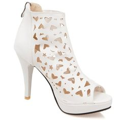 Trendy Women's Peep Toe Shoes With Zipper and Hollow Out Design $17.24