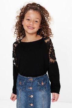 #boohoo Lace Sleeve Top - black KZZ98707 #Girls Lace Sleeve Top - black