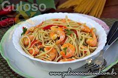 E aí o que vai ser o #jantar? A sugestão é este delicioso Macarrão Integral com Camarão!  #Receita aqui: http://www.gulosoesaudavel.com.br/2013/08/08/macarrao-integral-camarao/