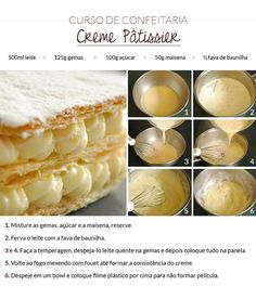 Creme patissier INGREDIENTES: 500mL de leite, 125g de gemas, 100g de açúcar, 50g de maisena, 1/2 fava de baunilha. Sweets Recipes, Cooking Recipes, Delicious Desserts, Yummy Food, Weird Food, Portuguese Recipes, Creative Food, Food Hacks, Food Inspiration