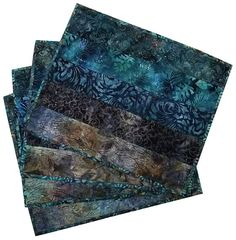 Quilted Placemats in Shades of Dark Blue Batik