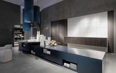 Long Kitchen Island with Futuristic Hidden Kitchen Storage