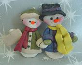 Polymer Clay Milestone/Christmas Ornament  Cake Topper Snowman Couple