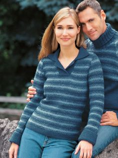 Seed Stitch Stripes | Yarn | Free Knitting Patterns | Crochet Patterns | Yarnspirations  Really like the polo neckline on this one :)