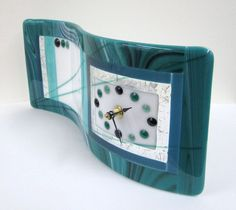 Teal We Meet Again Fused Glass Clock by JanuaryMayDesigns on Etsy