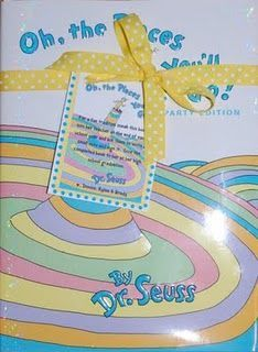 "Great idea for a keepsake.  Have each teacher secretly sign ""Oh, the Places You'll Go"" from Pre-K to High School at the end of each year and give it to your child at graduation.  I made this one for a friends new baby with a matching gift tag and instructions."