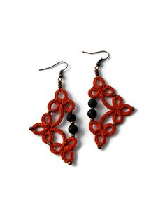 Tatted earrings with lava beads in orange//Tatted lace earrings//Tatted beaded earrings//Frivolite    Tatted lace earrings in orange with high