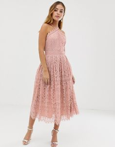 Shop ASOS DESIGN Petite lace midi dress with pinny bodice. With a variety of delivery, payment and return options available, shopping with ASOS is easy and secure. Shop with ASOS today. Pleated Midi Dress, Midi Dress With Sleeves, Lace Dress, Petite Dresses, Cute Dresses, Dresses Dresses, Party Dresses, Corsage, Robes Midi