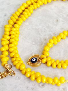 Evil eye yellow necklace