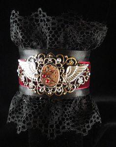 Steampuk Lady Pirate black lace cuff by Urbanhardwear on Etsy, $45.00