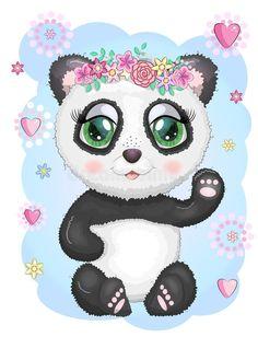 Cute Panda Cartoon, Girl Cartoon, Panda Lindo, En Stock, Girl Face, Hello Kitty, Minnie Mouse, Disney Characters, Fictional Characters