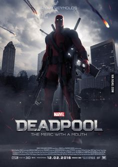MARVEL'S Deadpool (2016) | Release date: February 10 2016 | A former Special Forces operative turned mercenary is subjected to a rogue experiment that leaves him with accelerated healing powers and adopts the alter ego Deadpool./ I just saw this and legit almost freaked out so much! Finally can't wait hahaha