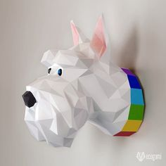 DIY Scottish terrier dog papercraft trophy perfect for your wall decor by EcogamiShop Scottish Terrier, Origami 3d, 3d Paper, Paper Toys, Low Poly, Feuille A3, Puzzles 3d, Arte Tribal, Modelos 3d
