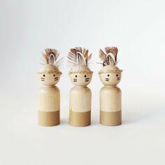 Image of Little Indian Peg Dolls Set Of 3