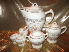 Vintage Antique Coffee Tea pot Set Roses Gold Paint Porcelain Sugar Creamer Salt
