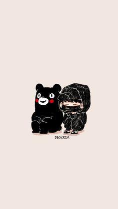 Kumamon and Yoongi/Suga/Agust D fanart Kawaii Wallpaper, Cartoon Wallpaper, Bts Wallpaper, Bts Chibi, Suga Swag, Android Art, Bts Drawings, Bts Fans, Kpop Fanart