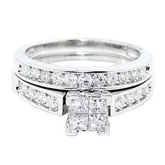 14K White Gold Engagement Ring And Wedding Band Set 2pc 1cttw Diamond Princess Cut *** To view further for this item, visit the image link. We are a participant in the Amazon Services LLC Associates Program, an affiliate advertising program designed to provide a means for us to earn fees by linking to Amazon.com and affiliated sites.