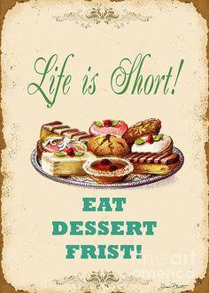 Eat Dessert Metal Tin Signs Rustic Poster Dessert Shop Wall Decor NO102