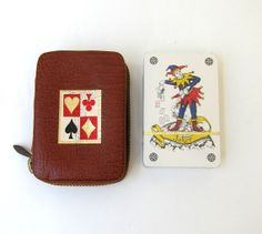 Mid century sealed deck of cards in leather case by evaelena, $21.00