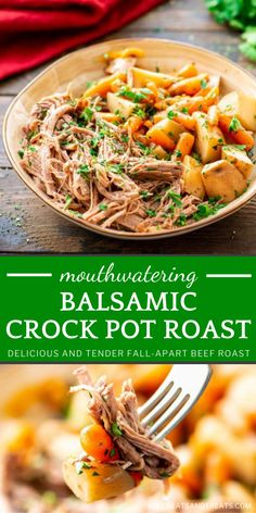 There is nothing like coming home to an easy crock pot meal! Balsamic Crock Pot Roast is perfect for busy weeknights. You are going to love this tender, fall-apart beef slow-cooked all day with a balsamic mixture with carrots and potatoes! Save this Crocktober recipe! Best Crockpot Recipes, Slow Cooker Recipes, Easy Recipes, Beef Recipes For Dinner, Ground Beef Recipes, Easy Weeknight Meals, Easy Meals, Grilled Prime Rib, Slow Cooker Italian Beef