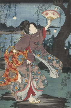 Utagawa Kunisada: Woman Chasing Fireflies - University of Wisconsin-Madison Japanese Artwork, Japanese Painting, Japanese Prints, Japanese Design, Japanese Illustration, Illustration Art, Art Occidental, Ancient Japanese Art, Japanese Woodcut