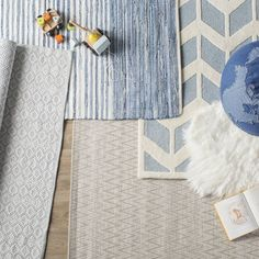 Mack & Milo™ Striped Handmande Braided Cotton Bright Blue/Navy Rug & Reviews   Wayfair Blue And White Rug, Peaceful Bedroom, Rug Loom, Rich Home, Navy Rug, Traditional Area Rugs, High Fashion Home, Woven Rug, Hand Weaving