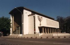 """The """"synagogue de la paix"""" is a Jewish synagogue in Strasbourg that houses many orthodox Jews. The Synagogue is strict about having no bags or cameras in the building, and you must show identity when entering. Jewish Synagogue, Jewish Temple, Jewish History, Jewish Art, Mosques, Cathedrals, Throughout The World, Around The Worlds, Synagogue Architecture"""
