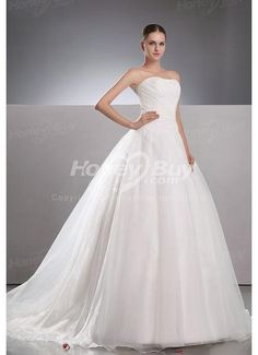 Chiffon Strapless A Line Latest Chapel Train Bridal Gowns