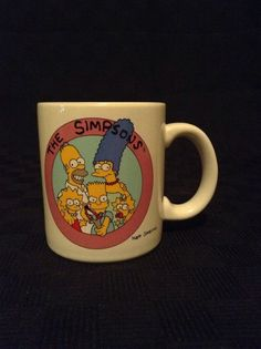1990 Matt Groening The Simpsons Fox TV Cartoon Ceramic Coffee Cup Mug