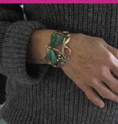 dragonfly bronze copper and silver cuff bracelet by coltenjewelry, $86.00
