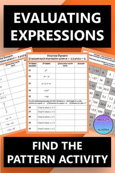 Evaluating Expressions Find the Pattern Activity FREE Math Resources, Math Activities, Secondary Math, Secondary Resources, Middle School, High School, Geometry Problems, Negative Numbers, Algebraic Expressions