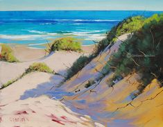 SEASCAPE OIL PAINTING  Impressionist Beach Painting Realistc Sand Dunes Artwork by Graham Gercken