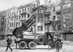 Soviet Guards Unit of rocket launcher MLRs BM-31-12, Berlin 1945. (310mm rockets on US6 Studebaker)