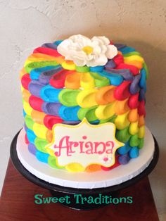 Rainbow inside and outside petal cake Petal Cake, Sweet Treats, Birthday Cake, Rainbow, Cakes, Traditional, Desserts, Food, Rain Bow
